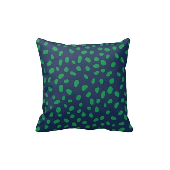 Throw Pillow Cover And Insert : Spotted Throw Pillow Cover w/Insert-Dalmatian Print-Navy Blue