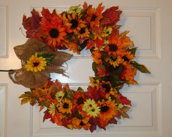 Fall Floral and Leaf Grapevine Wreath with Burlap Bow