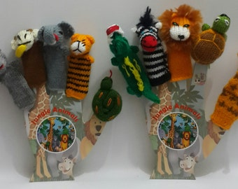 lot of 10 jungle animals Hand knitted Finger Puppets with 2 solid cardboard hands