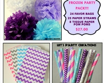 Frozen Party Pack- Striped Paper Straws, Disney Frozen Favor Bags, Tissue Paper Pom Poms Set of 8: Frozen Birthday, Party Supplies package