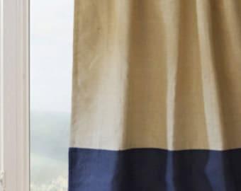 Curtain Panel Burlap Drapes Custom Color Block Door