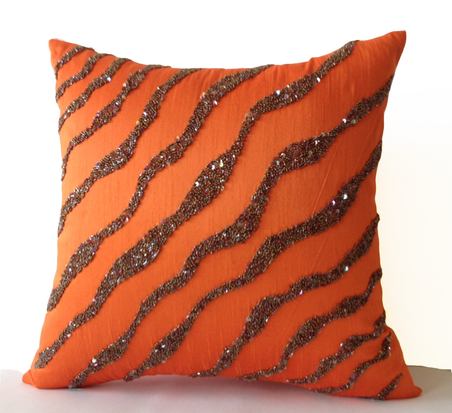 Orange Decorative Pillows Couch : Decorative Throw Pillows Orange Brown Sea Waves on Art Silk