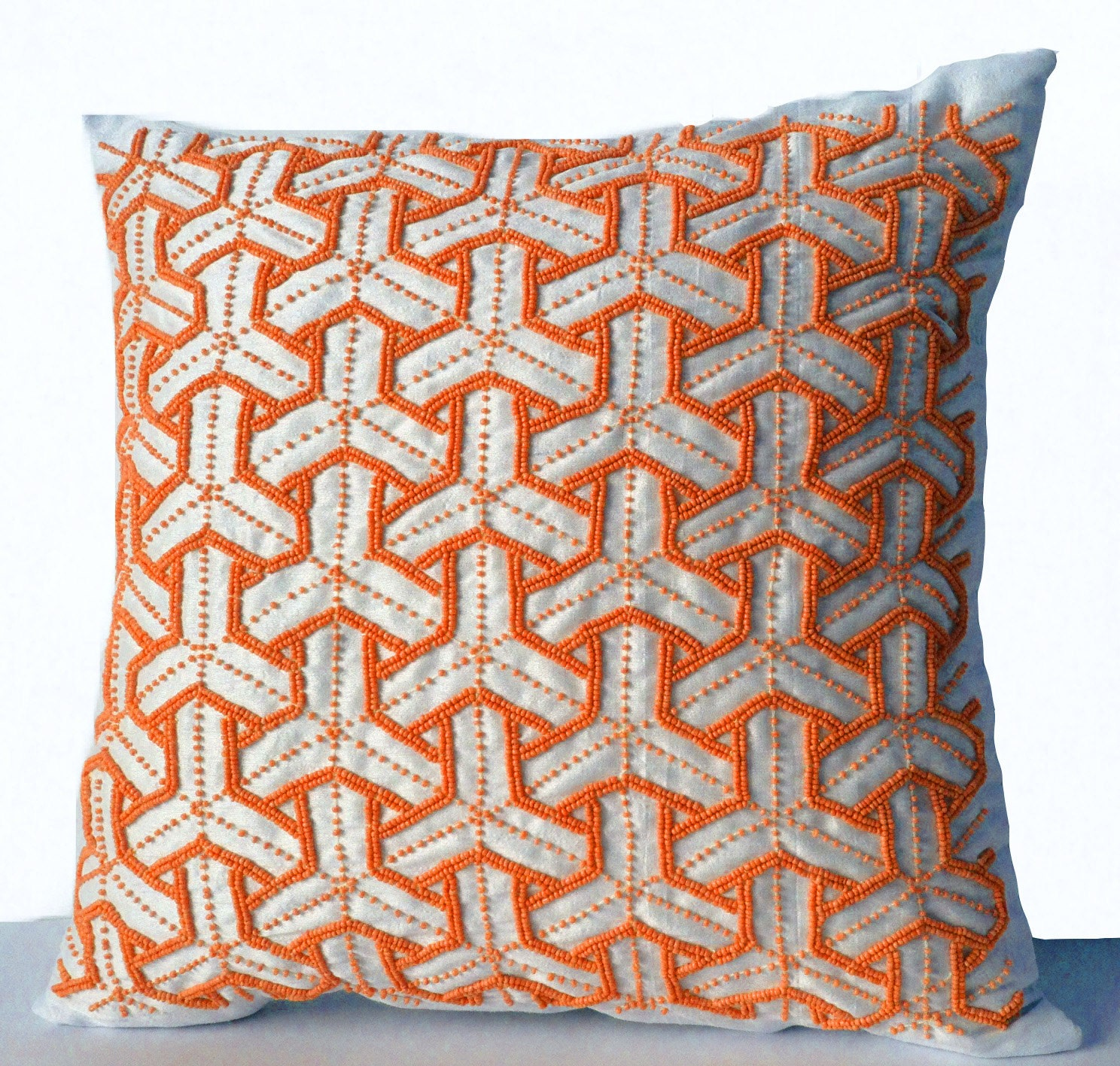 Ivory Silk Throw Pillow Cover Orange Bead Geometric Sashiko