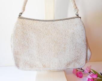 White Pearl Evening Bag Vintage Beaded Handbag Wedding Bridal EB-0491