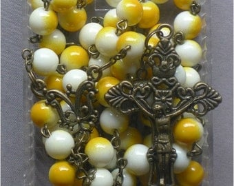 Bronze - Catholic - 8mm Yellow and White Glass Rosary