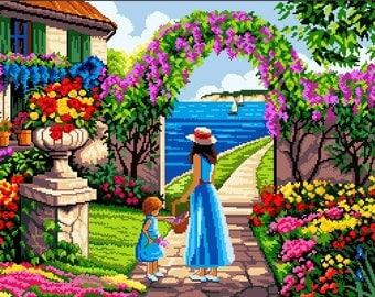 Blooming Backyard- Cross Stitch Pattern