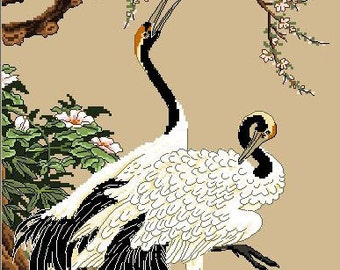 Two White Cranes-Oriental Cross Stitch Pattern SALE
