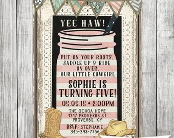 Shabby Chic Cowgirl Birthday Invite - 5x7 JPG