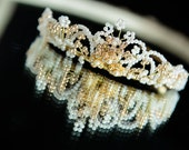 Vintage Handbeaded gold and pearl beaded diamante daisy Vintage Tiara Fascinator Headpiece Bridal  Vintage Rustic Wedding