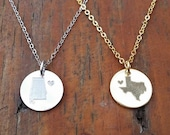 State Love Engraved Necklace - Favorite State Jewelry, Home is where the heart is, Gold and Silver Tone