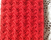 Crocheted Scarlet Merino Wool and Silk blend Cowl