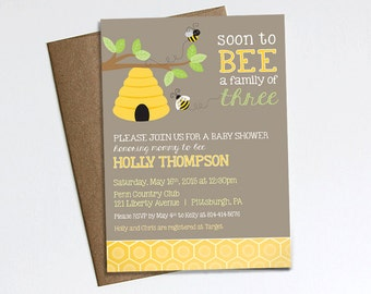 Soon to BEE a family of Three - BABY SHOWER invitation