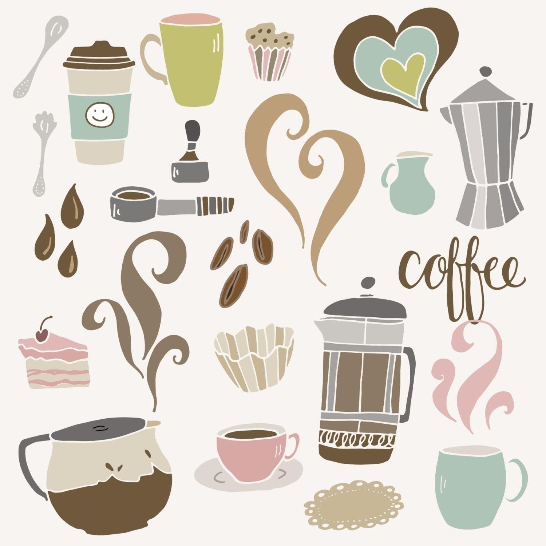CLIP ART: Cute Coffee Set // Cafe Shop French Press ...