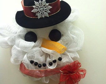 Snowman Wreath/ Christmas mesh wreath/ Snowman mesh wreath