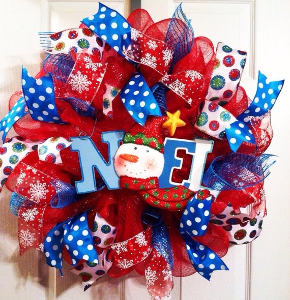 Red White and Blue Snowman Mesh Wreaths