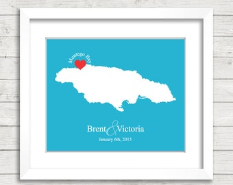 8x10 Jamaica Wedding Map - Montego Bay, Jamaica - Love Map - Destination Wedding - Wedding, Engagement & Anniversary Gift - Newlyweds
