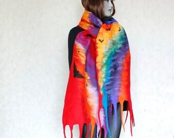 Rainbow scarf Red shawl felt Scarf felted nunofelt Red scarf rainbow, Silk and wool scarf, fairytale style