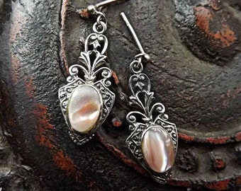 Lovely vintage sterling silver earrings with pink mother of pearl, beautiful detailing