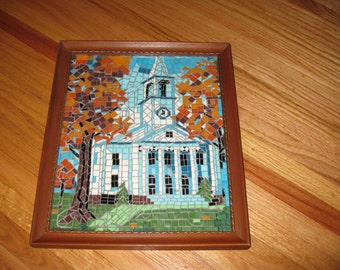 "MOSIAC TILE CHURCH Picture In Antique Wood Frame 13 1/2"" x 11 1/4"""