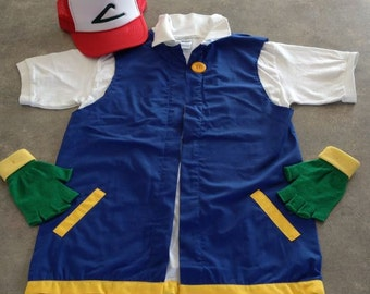 POKEMON GO  Men's medium   -  Ash Ketchum Pokemon Trainer Costume  -  Cosplay - 3 pc