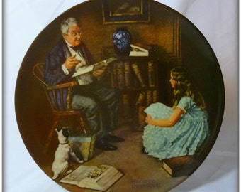 "Vintage Norman Rockwell ""The StoryTeller ""1984 Collector Plate"
