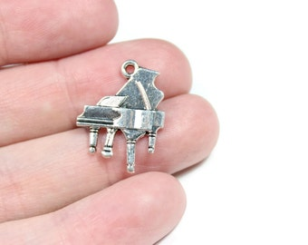 Antique Silver Piano Charms 10 QTY