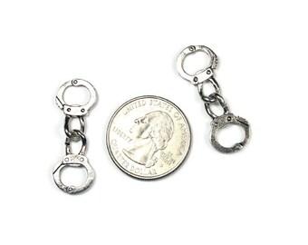 silver handcuffs locket dangles usa seller 1 piece