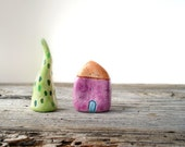 Miniature clay house in purple, little clay house, minimal home decor, colorful quirky house, hostess gift