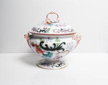 Antique 1860s Boch Keramis porcelain faience soup bowl, tureen, Japonica, hand painted red flower blue Boch Freres Belgium, W 28 cm / 11 in