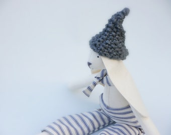 Cloth Bunny Rabbit Boy Doll Fabric Toy Stuffed Summer Baby Decor Cream and Blue Ticking Trousers,Tie and Grey Hand Knitted Hat British Maker