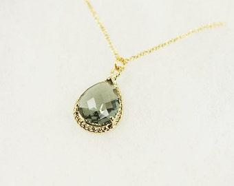 Gold framed Charcoal Glass Stone Teardrop Pendant Necklace . Bridesmaid Necklace , Bridesmaid Gift , Wedding Jewelry .