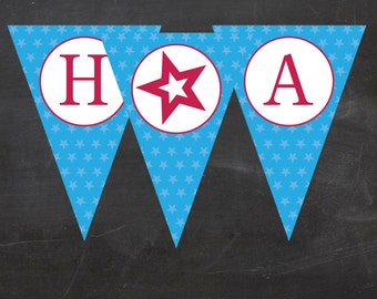 American Girl Doll Inspired Birthday Party - HAPPY BIRTHDAY BANNER - Pennant Flags - Instant Download Printable