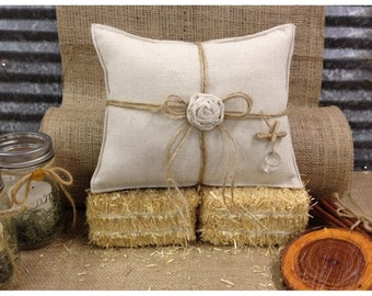 Ring bearer pillow with rose and rings
