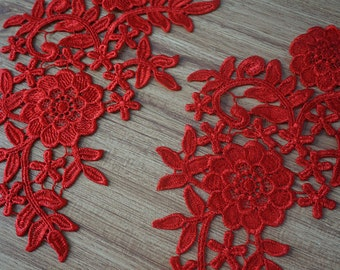 venice lace applique, red lace applique