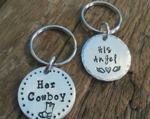His and hers keychain set, her angel his cowboy, cowboys and angels, country couple keychain set, boots, horses, ranchers, love, I love you