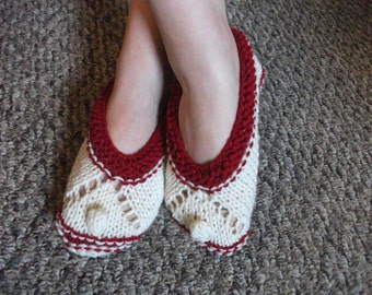 Red and White Slippers - comfortable house shoes