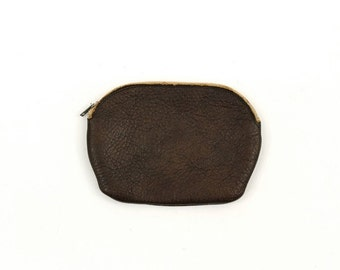 small brown leather change purse / zippered case