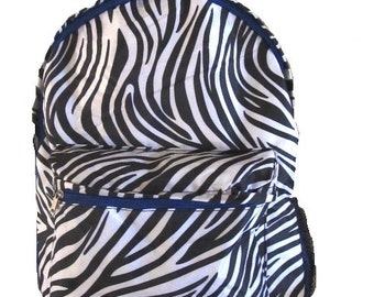Personalized School Backpack | Girls Everyday Bookbag | Monogrammed Backpack | Kids Bookbag | College Backpack Zebra with Blue Trim