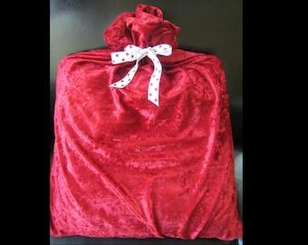 Deep Red Velveteen-Like Reusable Christmas Gift Wrap Bag with Polka Dot Ribbon Tie