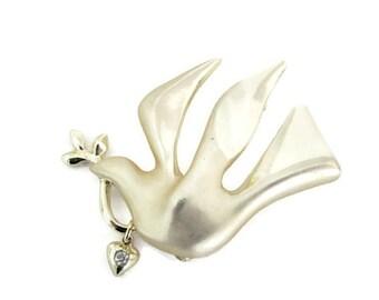 Vintage Dove Brooch, 1980's Giusti Gold Dove Brooch, Pin, Gold Bird Brooch, Pin, 1980's Brooch, Jewelry