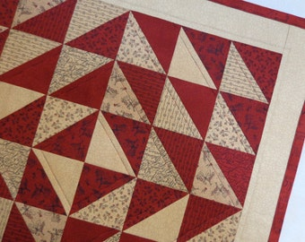 """Quilted Table Topper, Square Table Topper, Quilted Table Runner, Square Centerpiece, Quilted Square Table Centerpiece, """"A Primitive Garden"""""""
