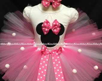 Minnie mouse tutu set silhouette pink Bow pompoms