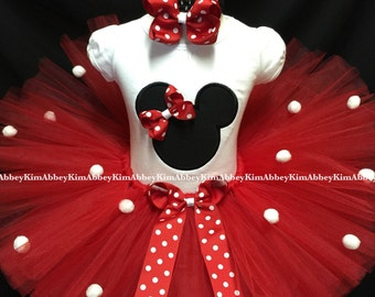 Minnie mouse tutu set silhouette red Bow pompoms