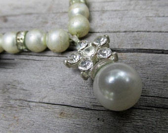 Vintage White Pearl & Rhinestone Silver Plated Wedding Necklace