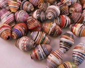 Extra Large 1-Inch Bicone Shaped Upcycled Focal Paper Beads in Wholesale Lots of 10 to 100