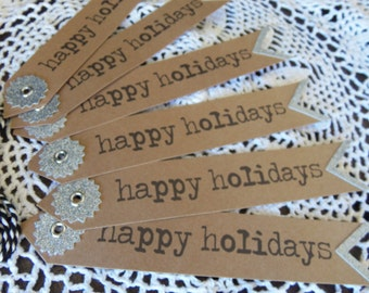 Christmas Tags Set of Six Large Gift Tags Happy Holidays Cardstock Holiday Bookmark Scrapbooking Supply by picadillymarket