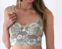 Mermaid Green Floral Lace Bralette Bra with Adjustable Staps and French Knicker Matching Lingerie Set. Handmade from Brighton Lace.