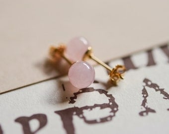 Pink quartz gold studs.14K gold earrings.Pink gemstone earrings
