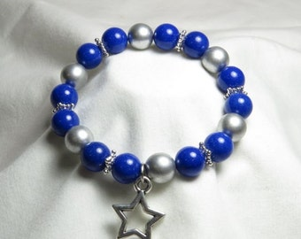 Silver and Blue Star Bracelet