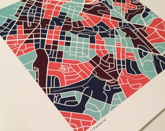 Dilworth Charlotte NC Map Print